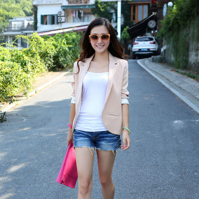 2012 women's spring and autumn fashion elegant long sleeve cardigan women's nude color blazer top