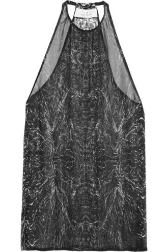 top chiffon silk black