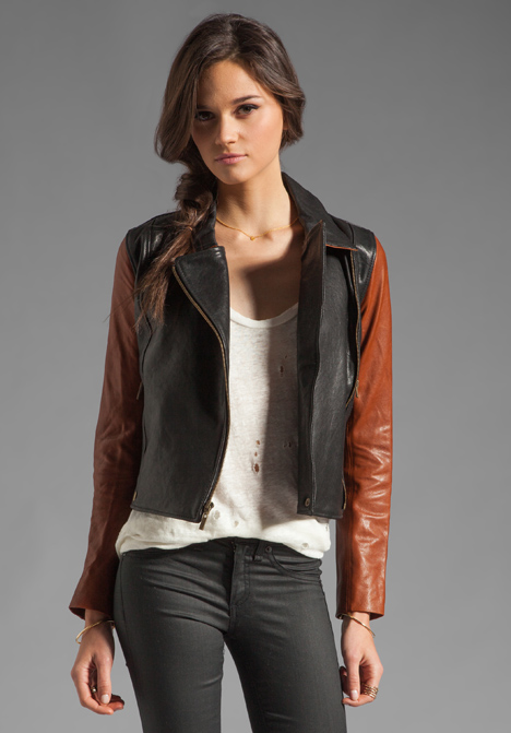 Black And Brown Leather Jacket - Coat Nj