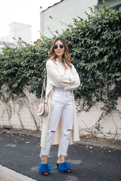 cardigan tumblr white cardigan denim jeans white jeans ripped jeans shirt white shirt shoes mules sunglasses bag white bag cropped jeans
