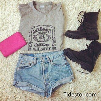 shoes boots short shirt pink grey black shorts bag tank top jack daniel's jack daniels whiskey jack daniels shirt jack daniels tanktop summer outfit tumblr teenagers girl