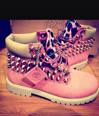 shoes cheetah print pink studded timberlands