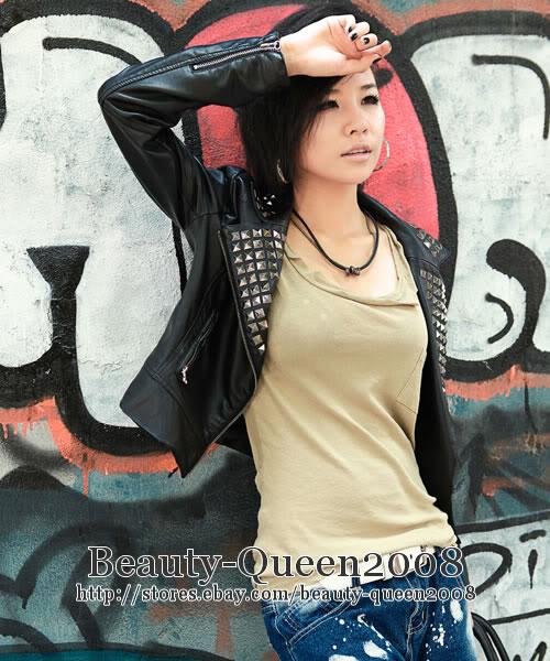Womens Black Faux Leather Metal Studded Biker Motorcycle Jacket XXS XS s M | eBay