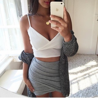 shirt crop tops skirt two-piece