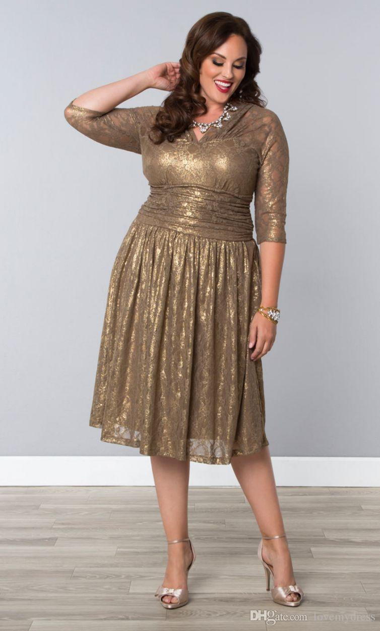 2016 Cheap Gold Lace Plus Size Special Occasion Dresses Sheer ...