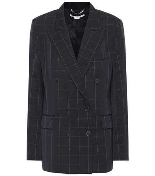 Stella McCartney Checked double-breasted wool blazer in blue