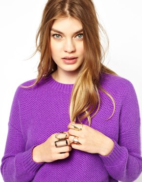 New look four pack geo ring at asos