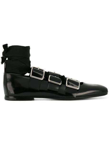 Jil Sander women lace leather black shoes