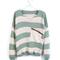 Green stripe bat sleeve sweater on luulla