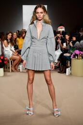 dress,grey,grey dress,mini dress,pleated,sydney fashion week,fashion week,C/meo Collective