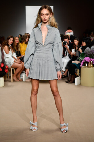dress grey grey dress mini dress pleated sydney fashion week fashion week c/meo collective