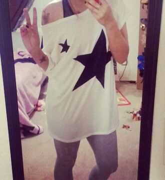 t-shirt stars oversized tee shirt top white black dance class oversized sweater