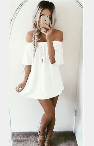dress white white dress solid summer off the shoulder