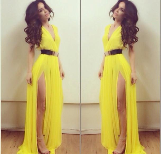 4b53880e1782 dress prom dress evening dress yellow yellow dress style maxi dress elegant  elephant long dress slit