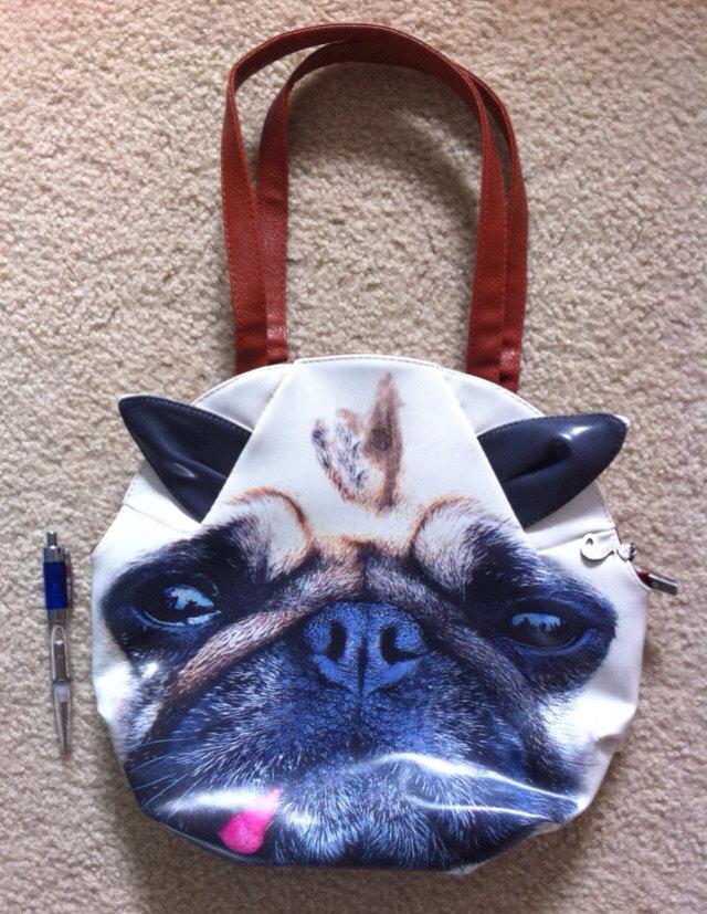 Rave wear pug dog screen print graphic purse hobo hand bag