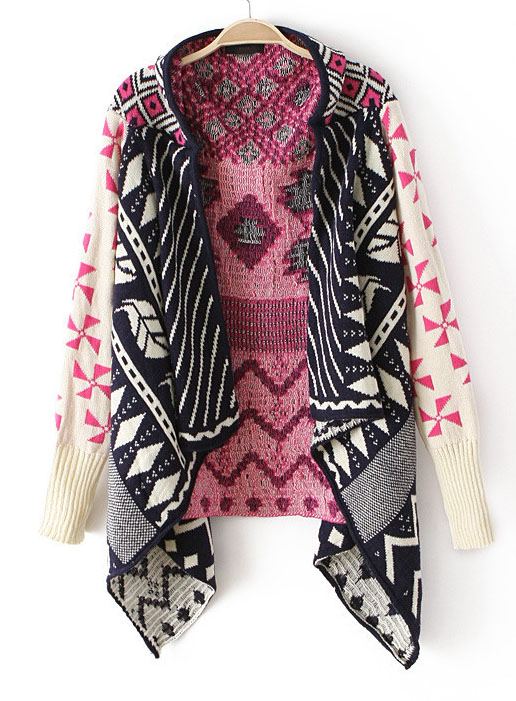 Pink Long Sleeve Tribal Pattern Asymmetrical Cardigan - Sheinside.com