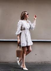 dress,mini dress,polka dots,bag,long sleeve dress,mules,ruffle,sunglasses