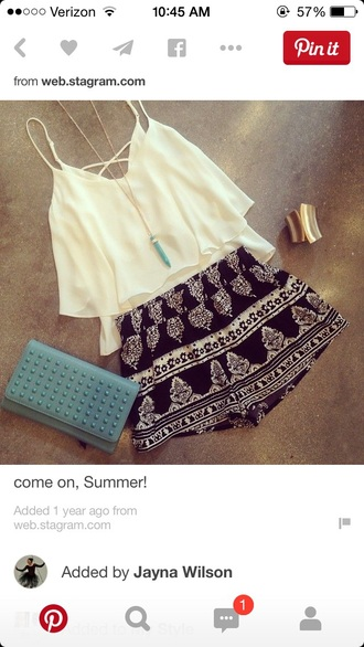 shorts tribal pattern black white