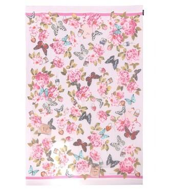 scarf silk scarf floral silk pink