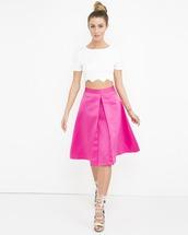 skirt,pleated skirt,aline skirt,pink,pink skirt,midi skirt