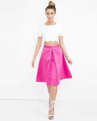 skirt pleated skirt aline skirt pink pink skirt midi skirt