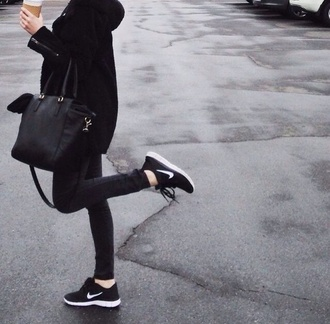 bag black bag black coat black jeans skinny jeans shoes jacket