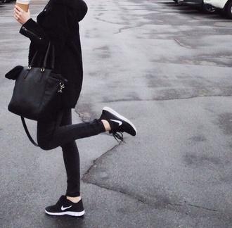 bag black bag black coat black jeans skinny jeans shoes