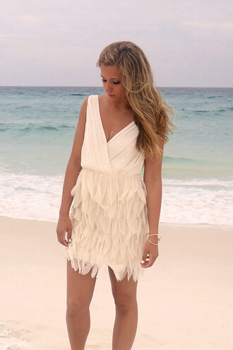 dress beige feathers chiffon elegant cocktail party formal summer beach sleeveless v neck amazinglace