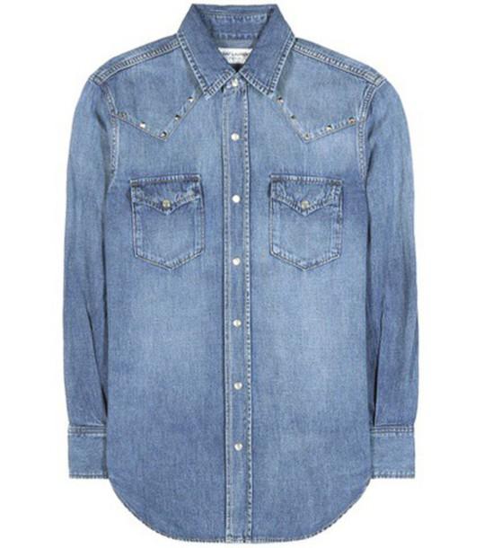 Saint Laurent Embellished Denim Shirt in blue