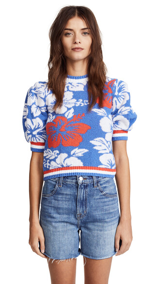 top floral top short floral blue