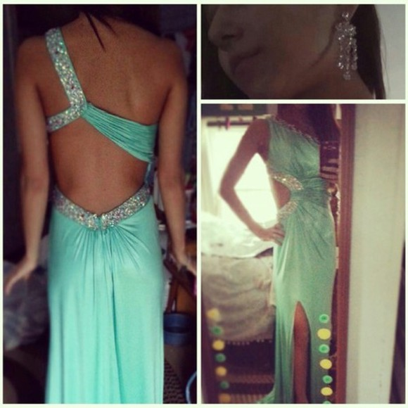 dress slit aqua prom dress jewls