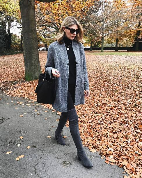 coat tumblr grey coat top black top turtleneck black turtleneck top bag black bag boots grey boots over the knee boots over the knee
