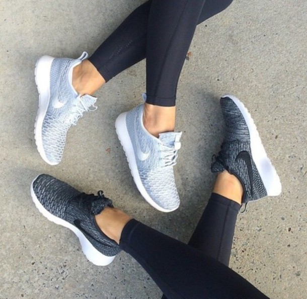 shoes nike running shoes nike shoes sportswear sports shoes nike roshe run  silver nike black white