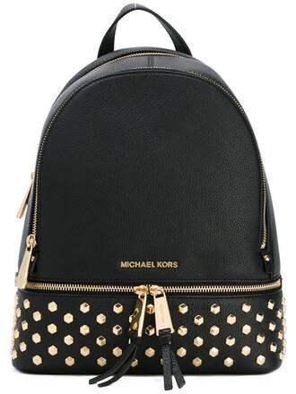 embellished backpack leather black bag