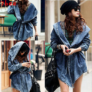 Womens Denim Jean Trench Oversized Hoodie Outerwear Hooded Jeans Coat Jacket | eBay