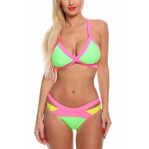 Light Green Color Block 2-piece Bikini