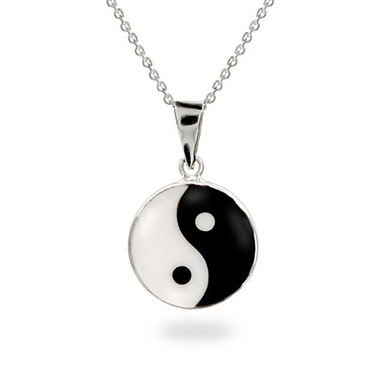 Amazon.com: sterling silver yin yang pendant: pendant necklaces: jewelry