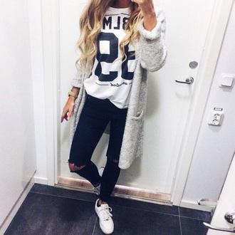 cardigan white white cardigan black and white cardigan jeans shoes t-shirt