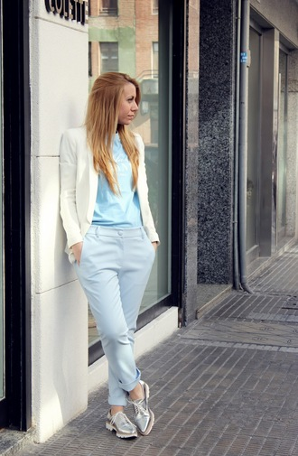 pants blue pants shoes silver shoes top blue top blazer white blazer spring outfits office outfits