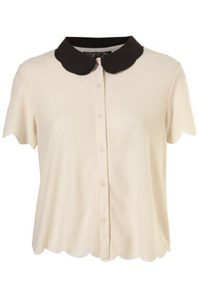 Tall cream scallop button through shirt