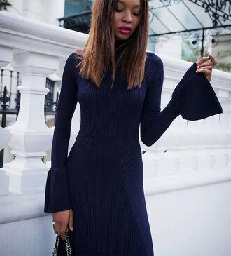 dress tumblr blue dress bell sleeves knitwear knitted dress long sleeves long sleeve dress