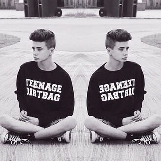 boy teenagers black sweater