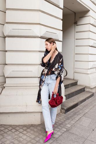 shoes tumblr pink shoes mules denim jeans blue jeans kimono bag coat