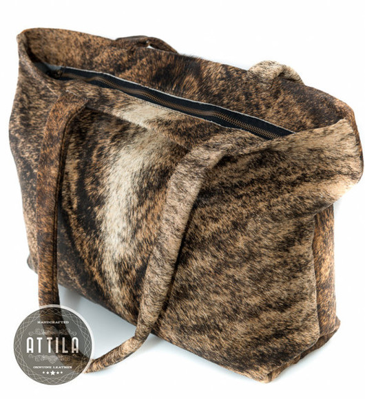 bag leather bag pony hair tote bag tiger print natural colours cowgirl cow leather luxury bag, luxury, handbag, grey bag