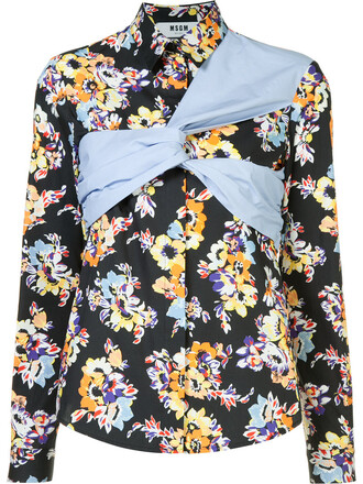 shirt women floral cotton print black top