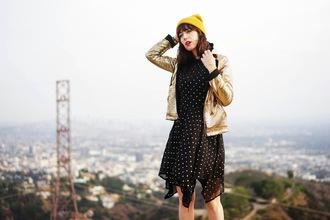 a fashion nerd blogger jacket mustard beanie gold metallic polka dots dress gold leather jacket