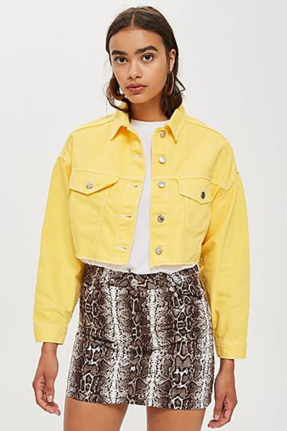 TopShop Petite Yellow Hacked Denim Jacket - Yellow