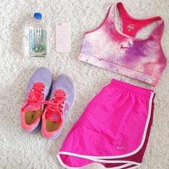 top purple bra orange shoes nike sports workout