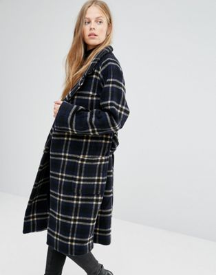 Ganni Tie Waist Long Coat in Blue Check at asos.com