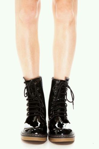 shoes shiny combat boots faux leather